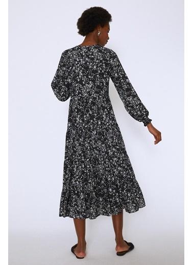 Quzu Çıtır Çiçek Midi Boy Elbise Siyah